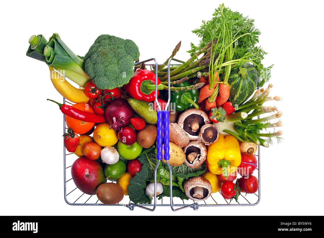 Photo of a wire shopping basket full of fresh fruit and vegetables, shot from above and isolated on a white background. - Stock Image