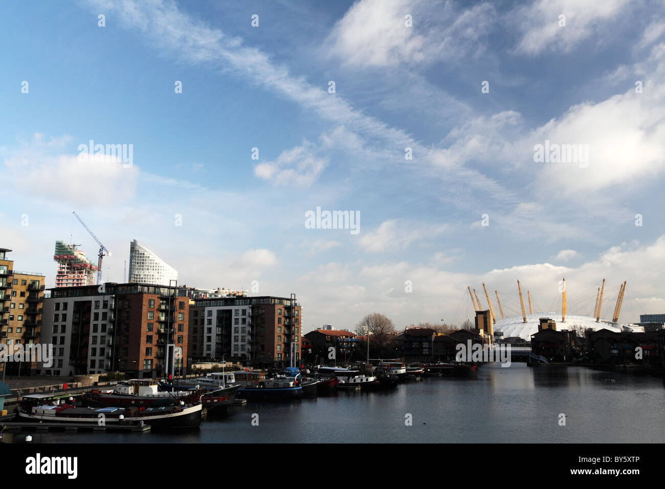 A view across the docklands, Canary Wharf. London - Stock Image