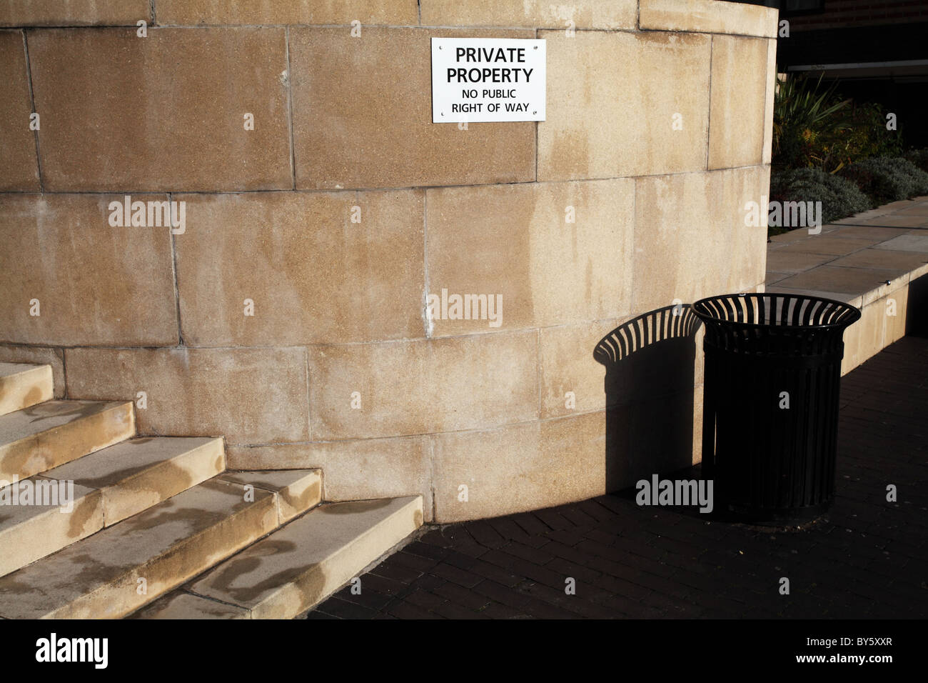 Private property sign in the Docklands, London - Stock Image