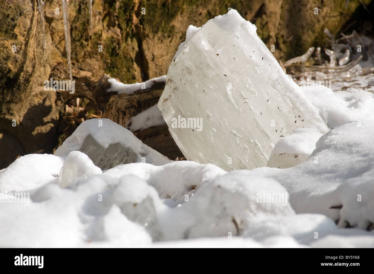 Frozen water at Hocking state park Ohio - Stock Image