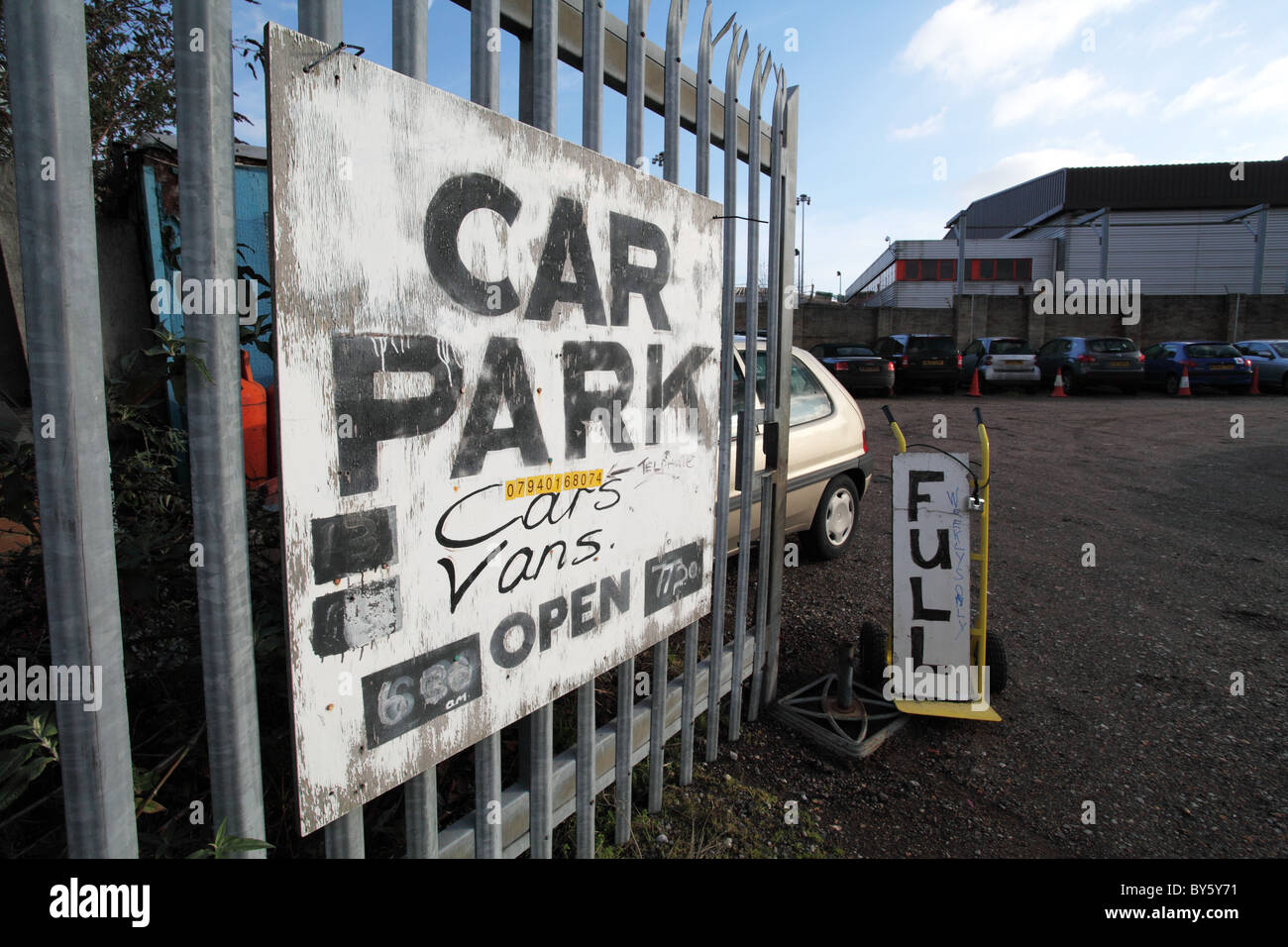 Carpark sign in the docklands. Canary Wharf. London - Stock Image