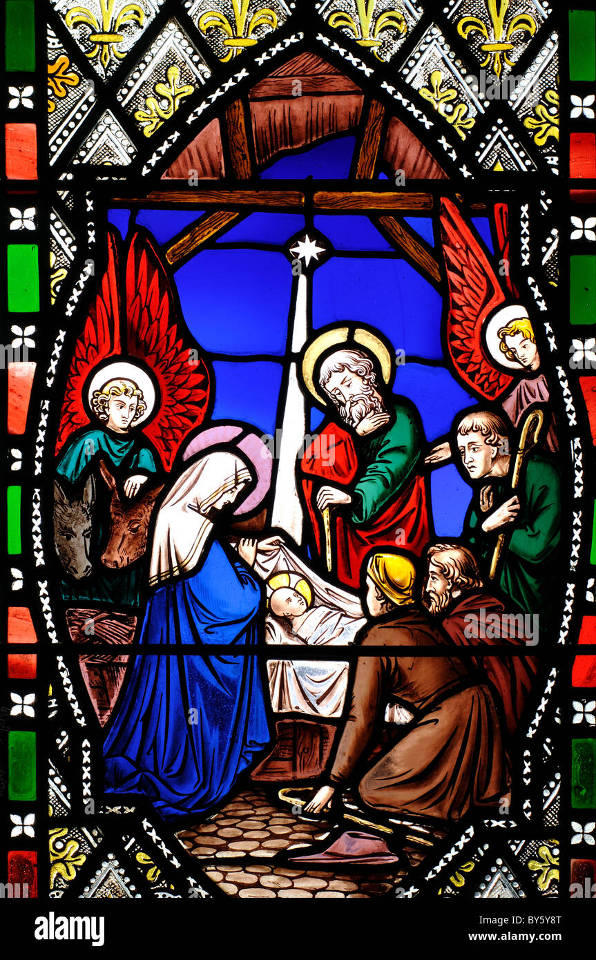 Nativity Stained Glass St Andrew S Church Burton Overy Stock Photo Alamy