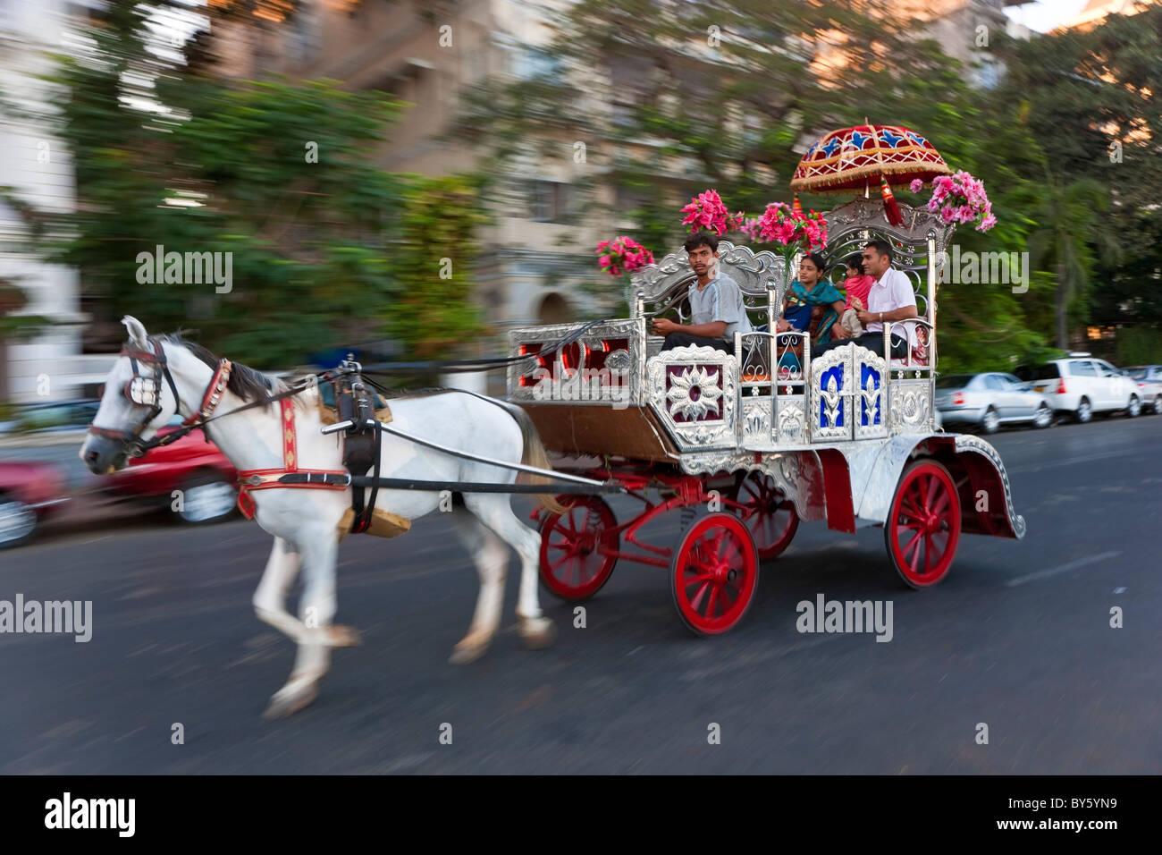 Carriage for tourist rides, Mumbai, (Bombay), India - Stock Image