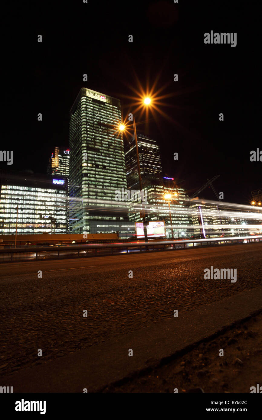 Canary wharf at nightime, London. - Stock Image