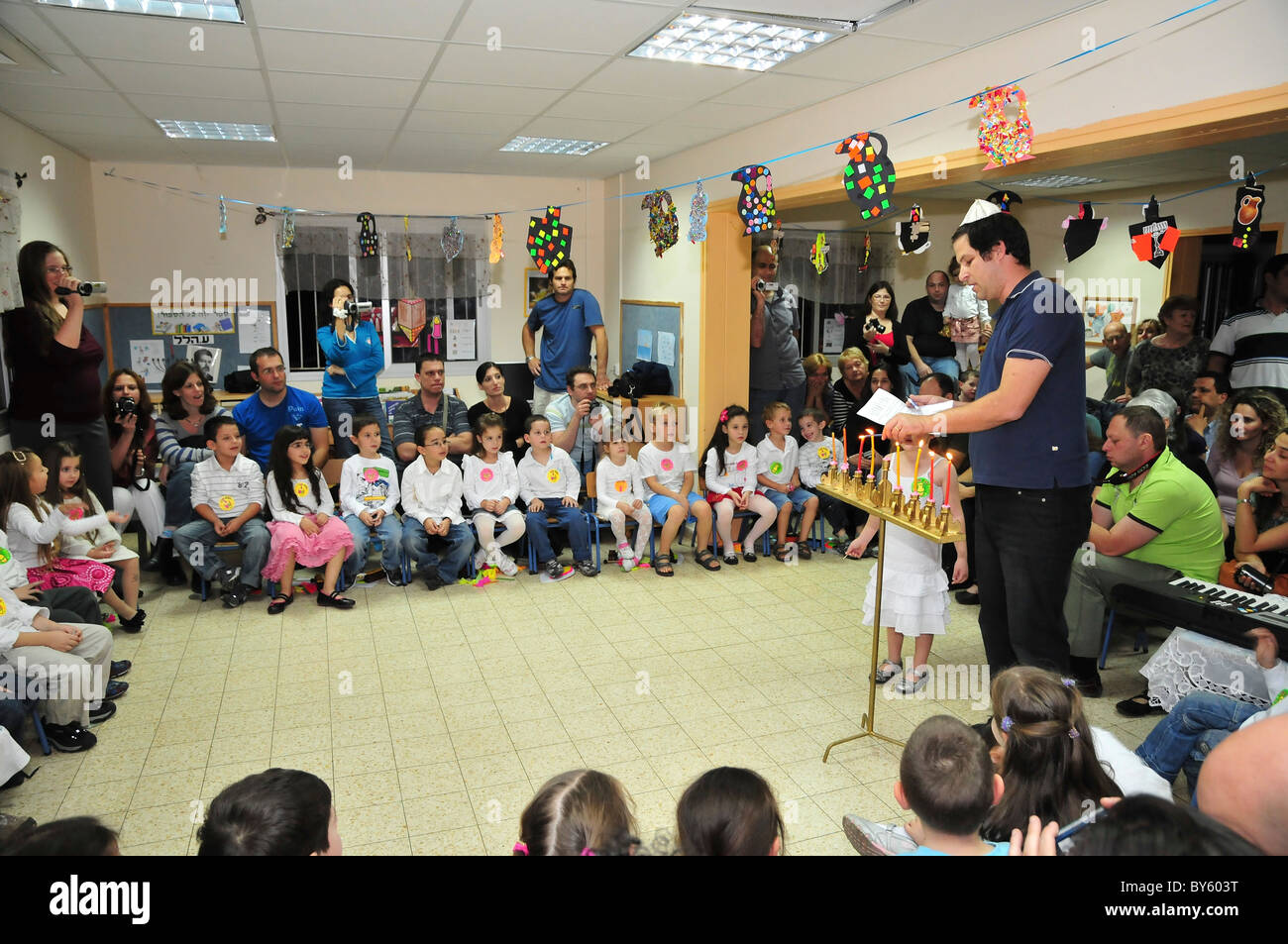 Hannukah celebration in a kindergarten in Israel - Stock Image