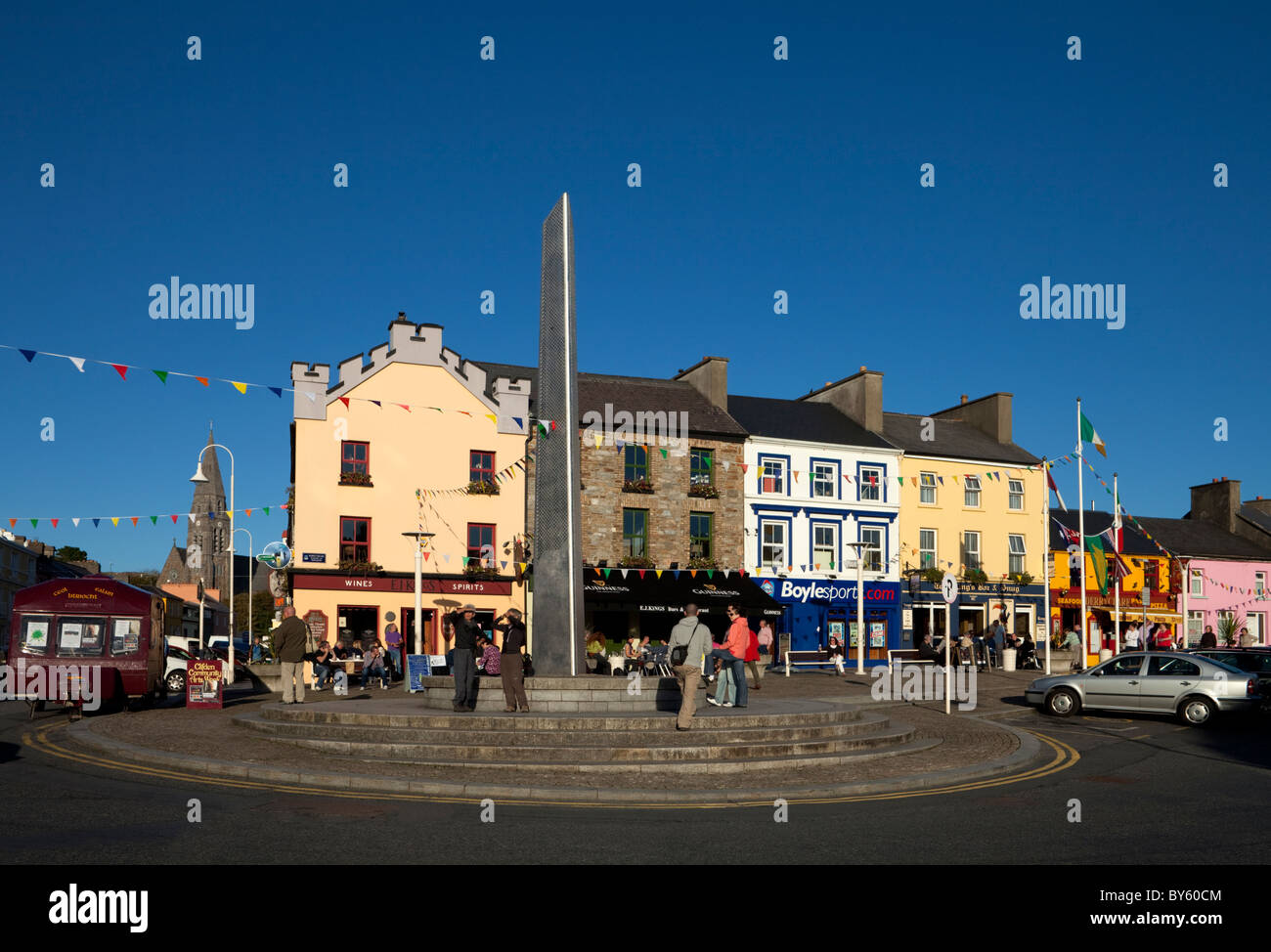 Clifden Town Centre and Contemporary Sculpture, Connemara, County Galway, Ireland - Stock Image