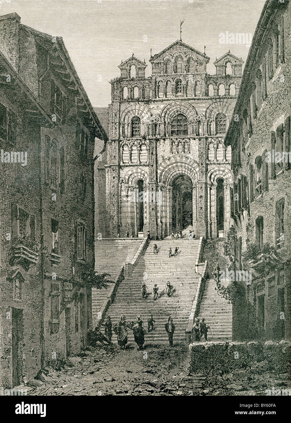 Le Puy Cathedral , Le Puy-en-Velay, Auvergne, France in the 19th century. - Stock Image