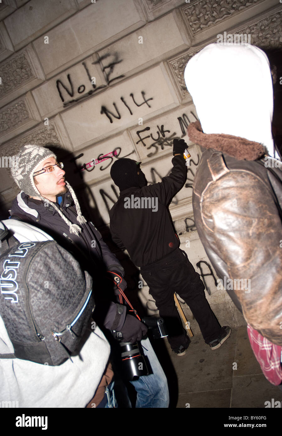 student gravitating at parliament sq during student tuition fee protest - Stock Image