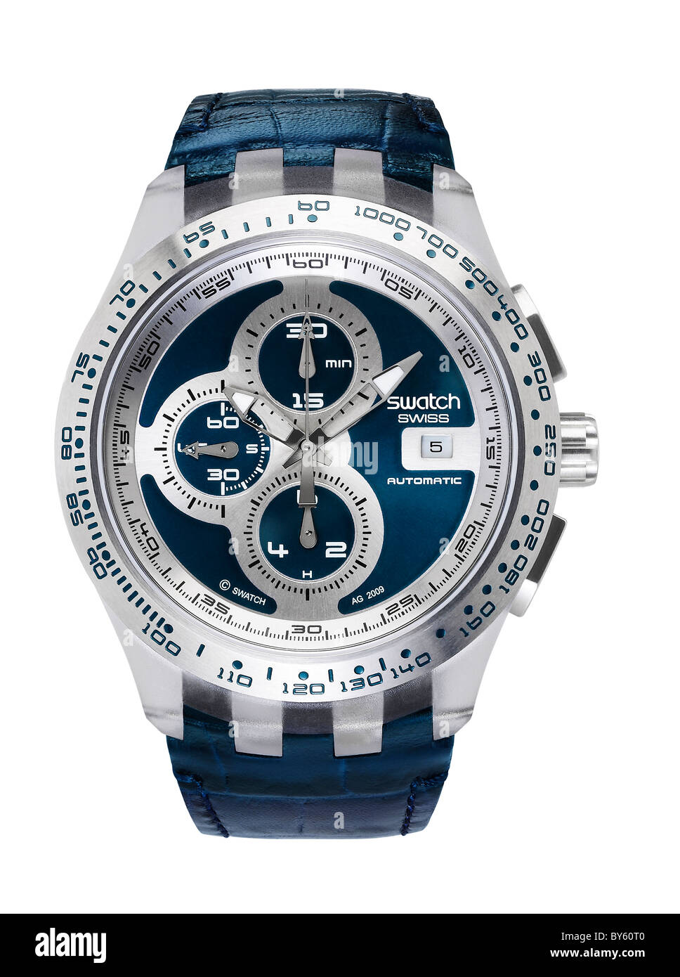 swatch watch in Blue wrist time time piece hands - Stock Image