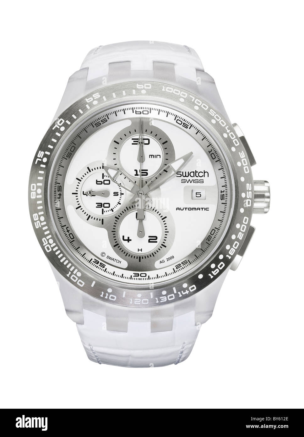 swatch watch in white - Stock Image