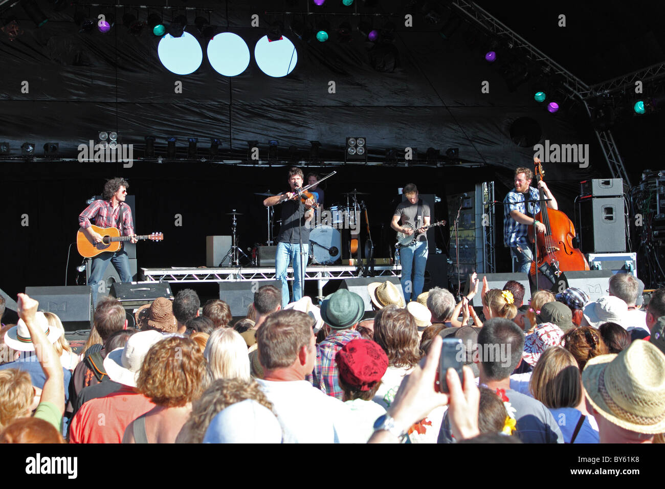 Seth Lakeman appearing on the Good Time Guide Stage at GuilFest 2010 music festival, Stoke Park, Guildford, Surrey, - Stock Image