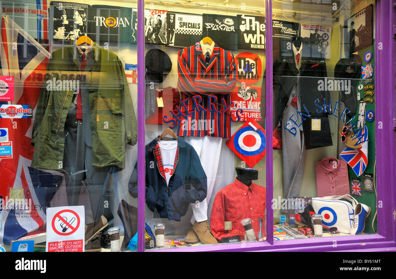 Classic sixties fashion clothing and paraphernalia in Sherry's shop window display, Carnaby Street, London, - Stock Image