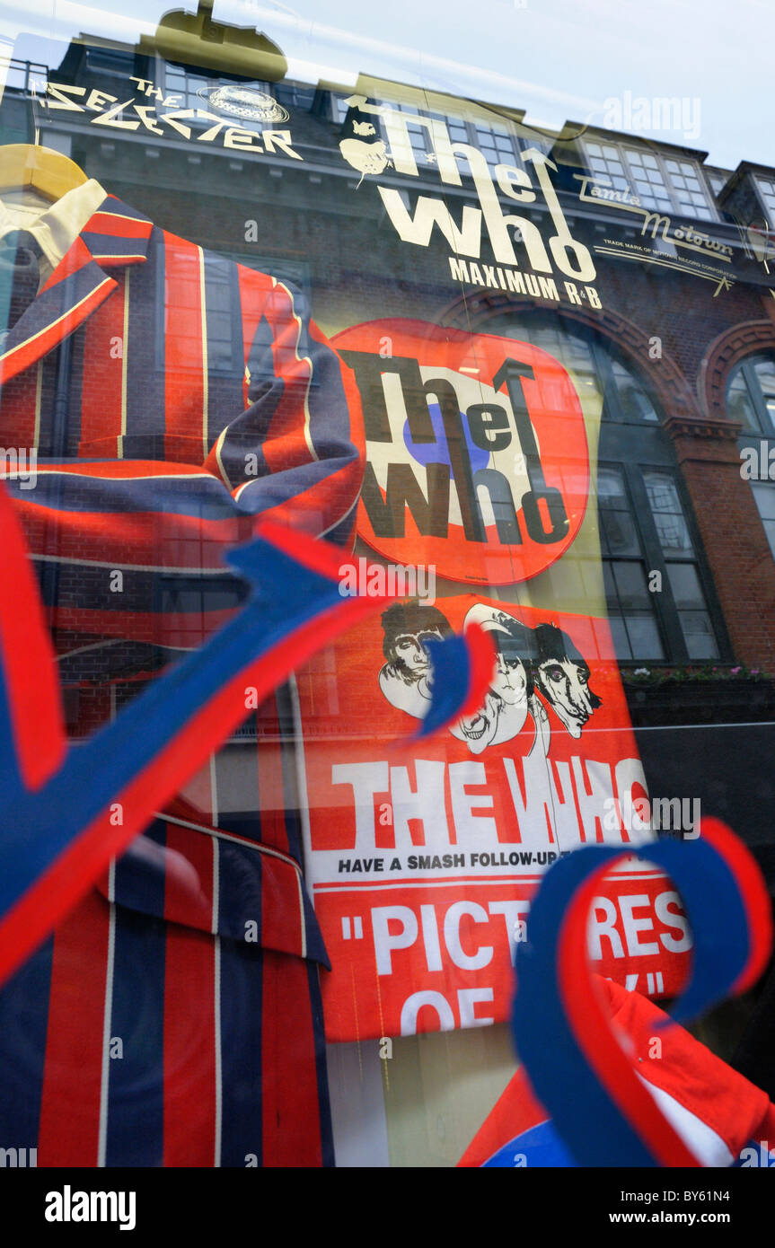 The Who paraphernalia in Sherry's shop window display, Carnaby Street, London, UK - Stock Image