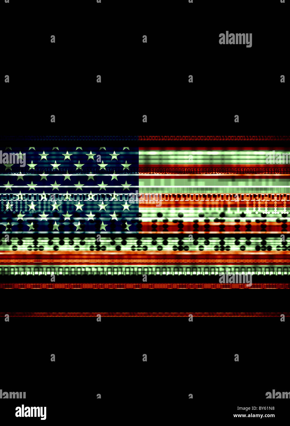 US Flag with data streams illustrating data usage,national security, terrorism - Stock Image