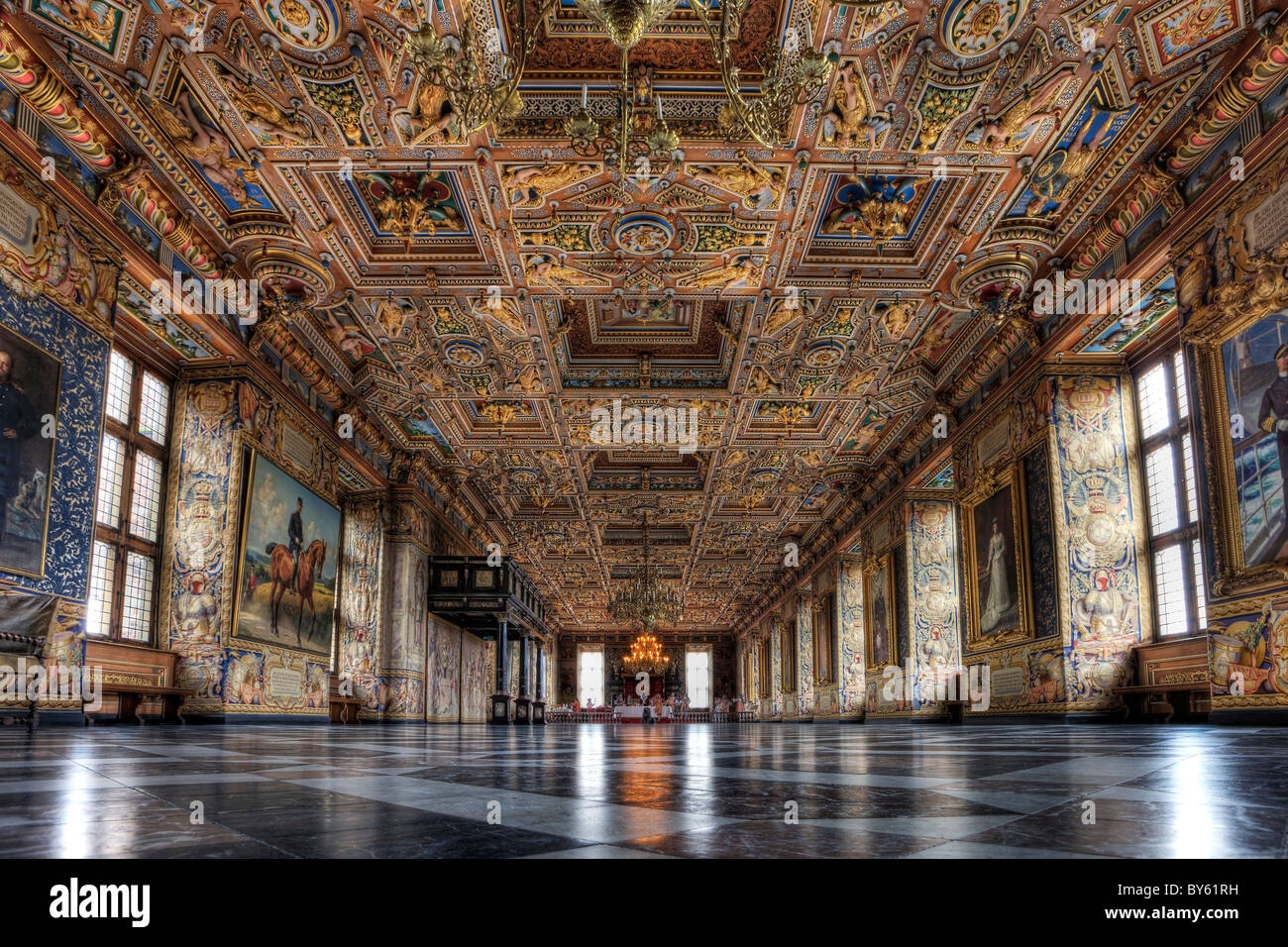 The Great Hall at Frederiksborg Castle in Denmark - Stock Image