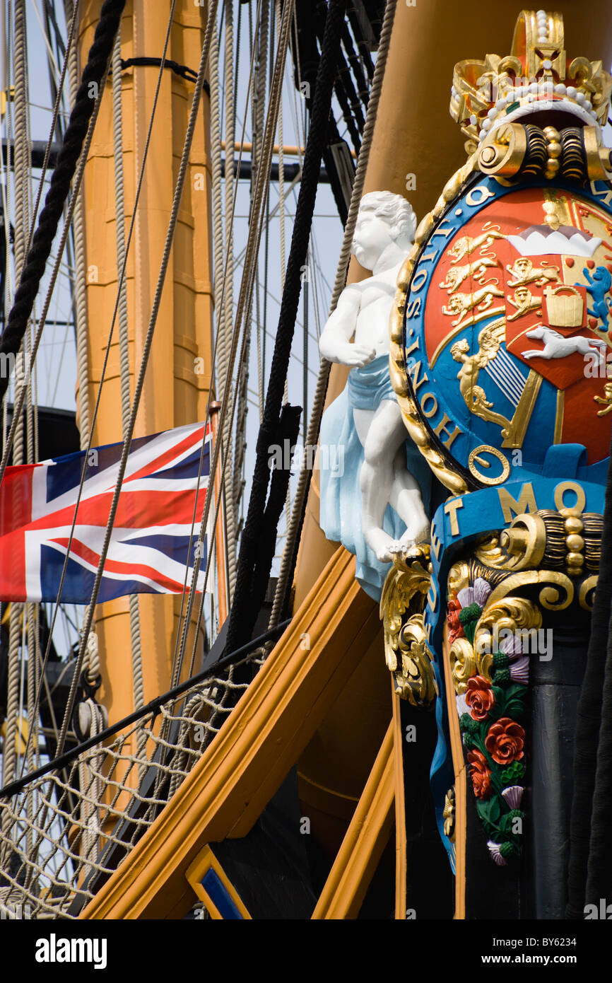 ENGLAND Hampshire Portsmouth Historic Naval Dockyard Bow of Admiral Lord Nelson's flagship HMS Victory with - Stock Image