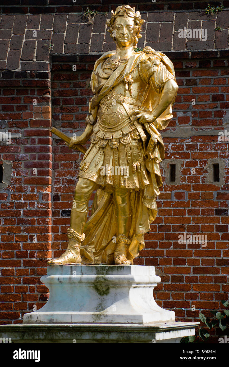 England Hampshire Portsmouth Historic Naval Dockyard Gilded statue of King George III dressed as Roman Emperor. - Stock Image
