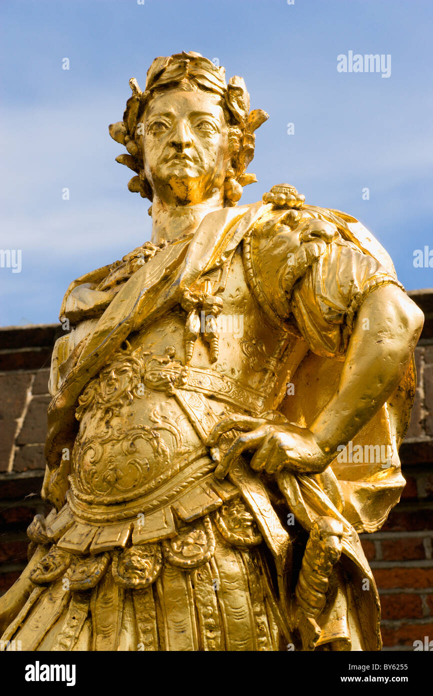 England Hampshire Portsmouth Historic Naval Dockyard Gilded statue of King George III dressed as a Roman Emperor. - Stock Image