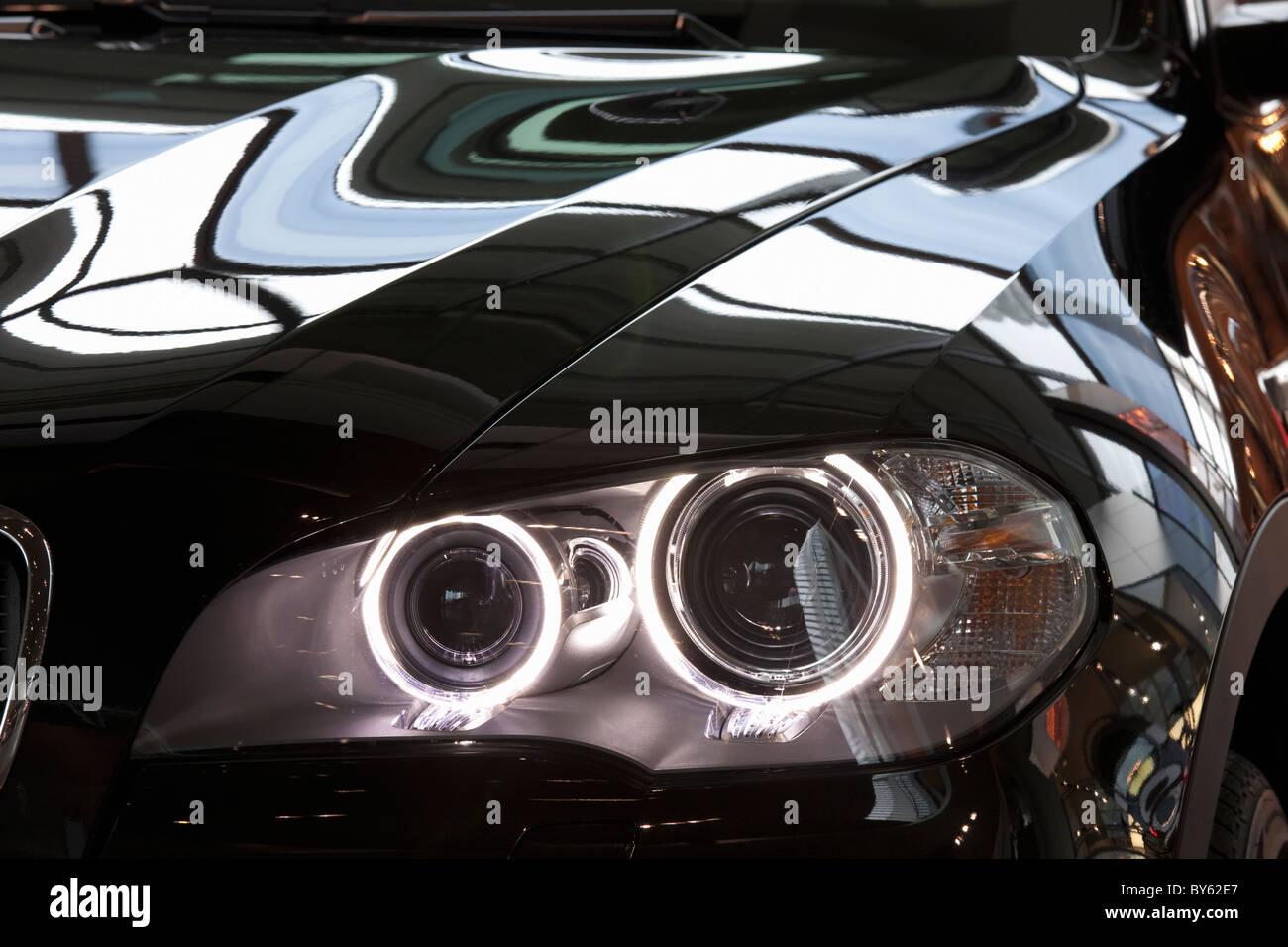 LED headlights on a BMW car Stock Photo