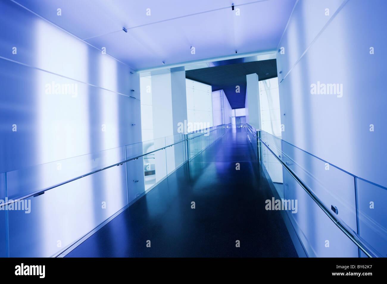 Germany,Bavaria,Munich, BMW Museum, corridor in blue tones - Stock Image