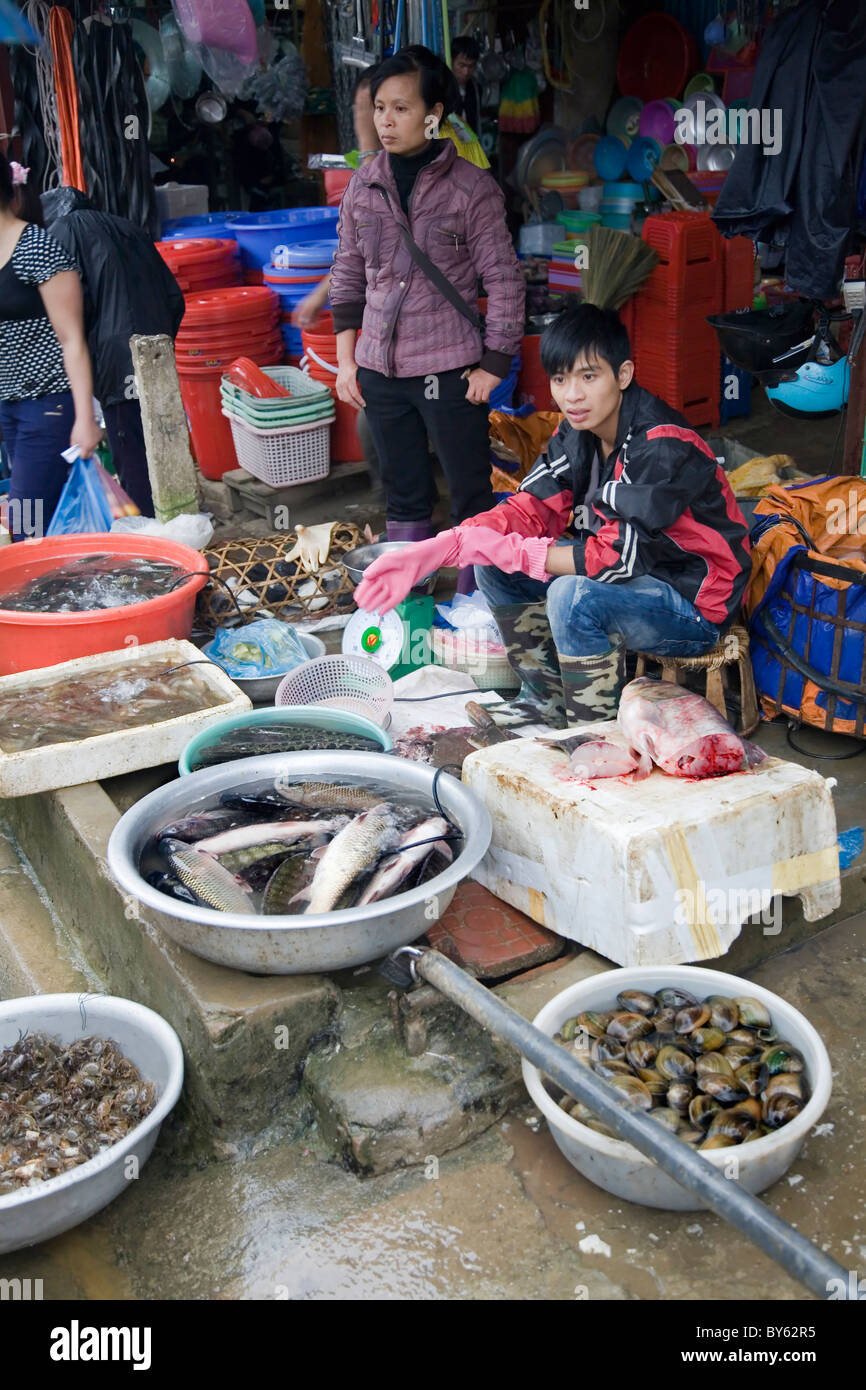 fish sell in a market. Sapa, Lao Cai province, Vietnam. - Stock Image