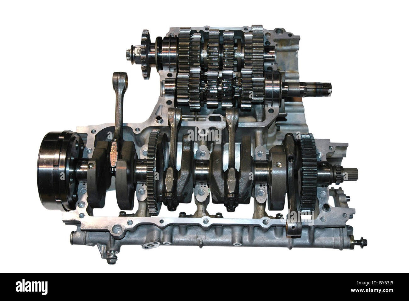 Car engine part - Close up image of an internal combustion engine Stock Photo