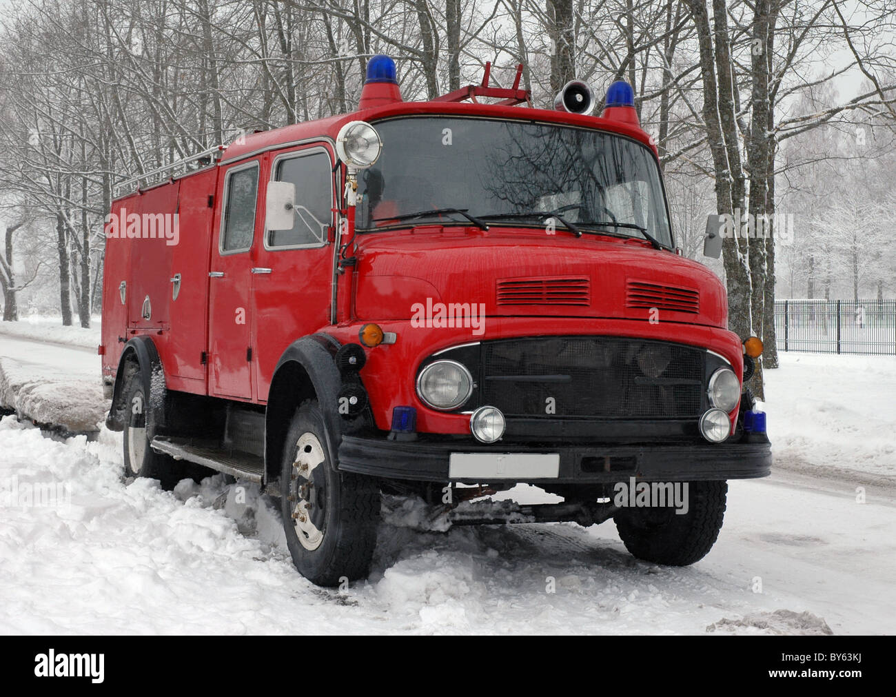 Vintage Fire Truck At Winter   Stock Image