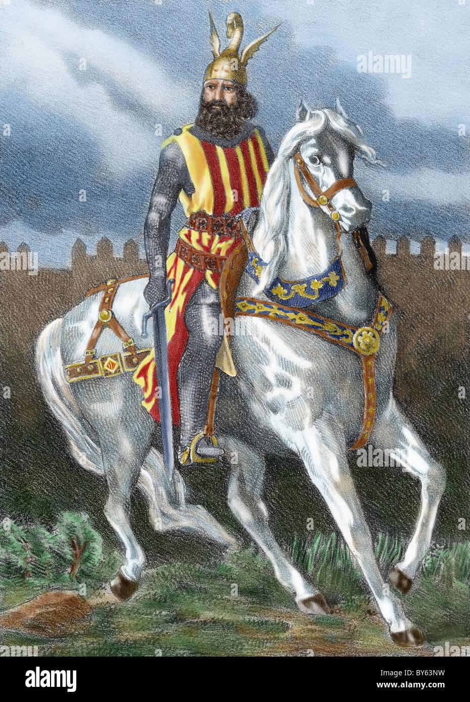 James I The Conqueror (1208-1276) on horseback. - Stock Image