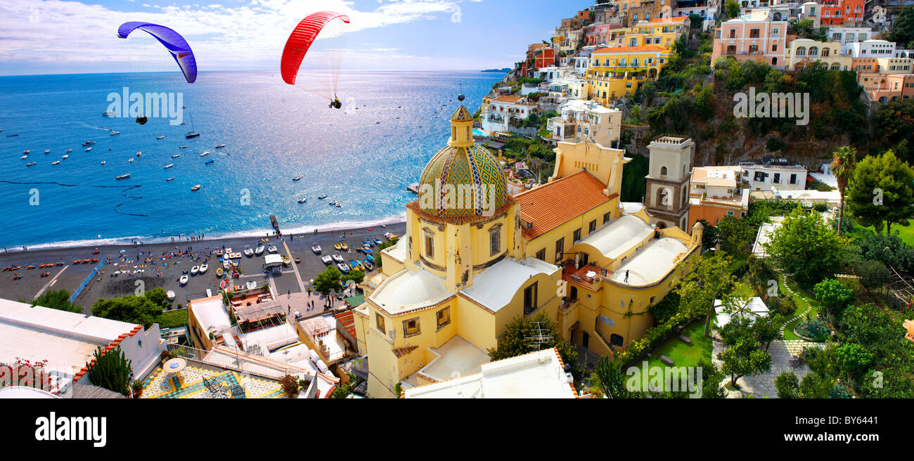 Paraglider over Positano town - Amalfi caost - Italy Stock Photo