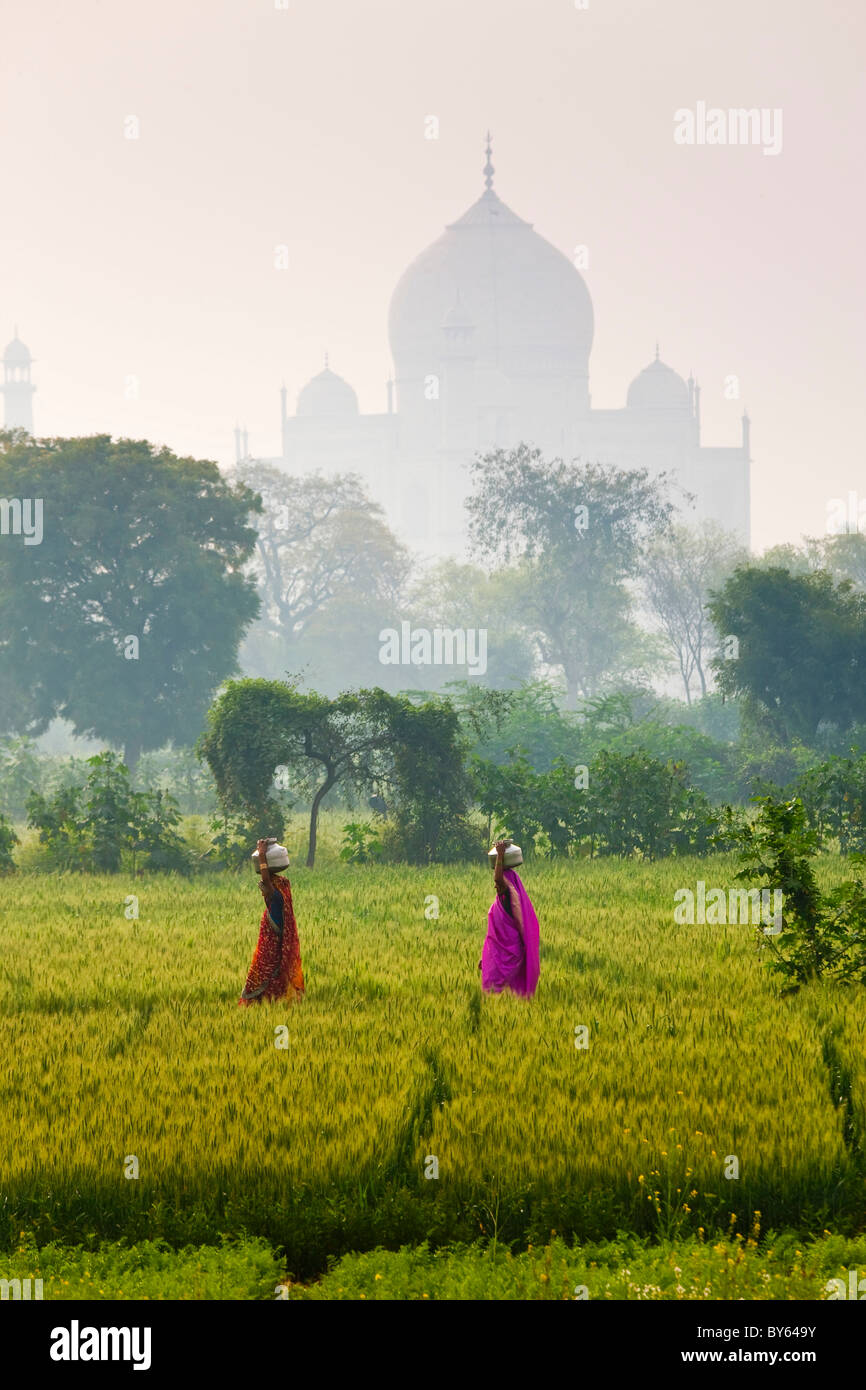 Carrying water pots, Taj Mahal, Agra, India - Stock Image