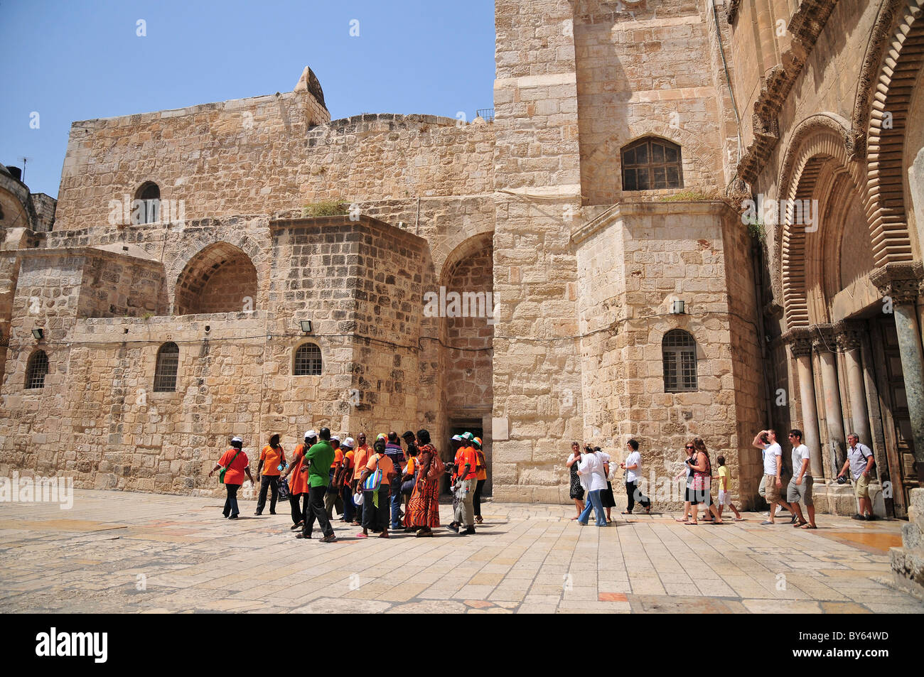 Israel, Jerusalem, Old City, Exterior of the church of the Holy Sepulchre, The main entrance - Stock Image