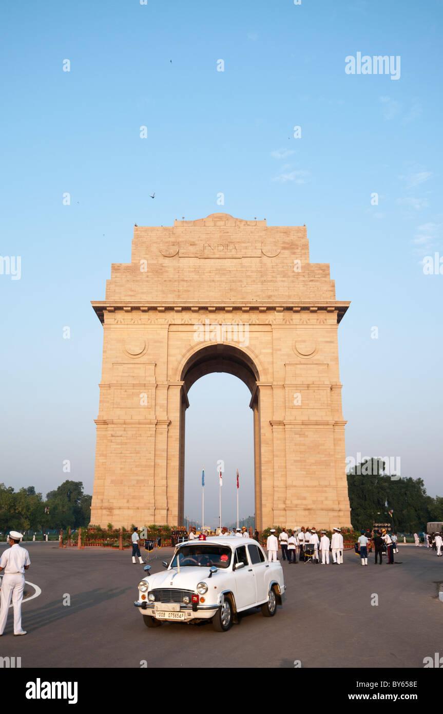 India Gate with White Ambassador Car - Stock Image