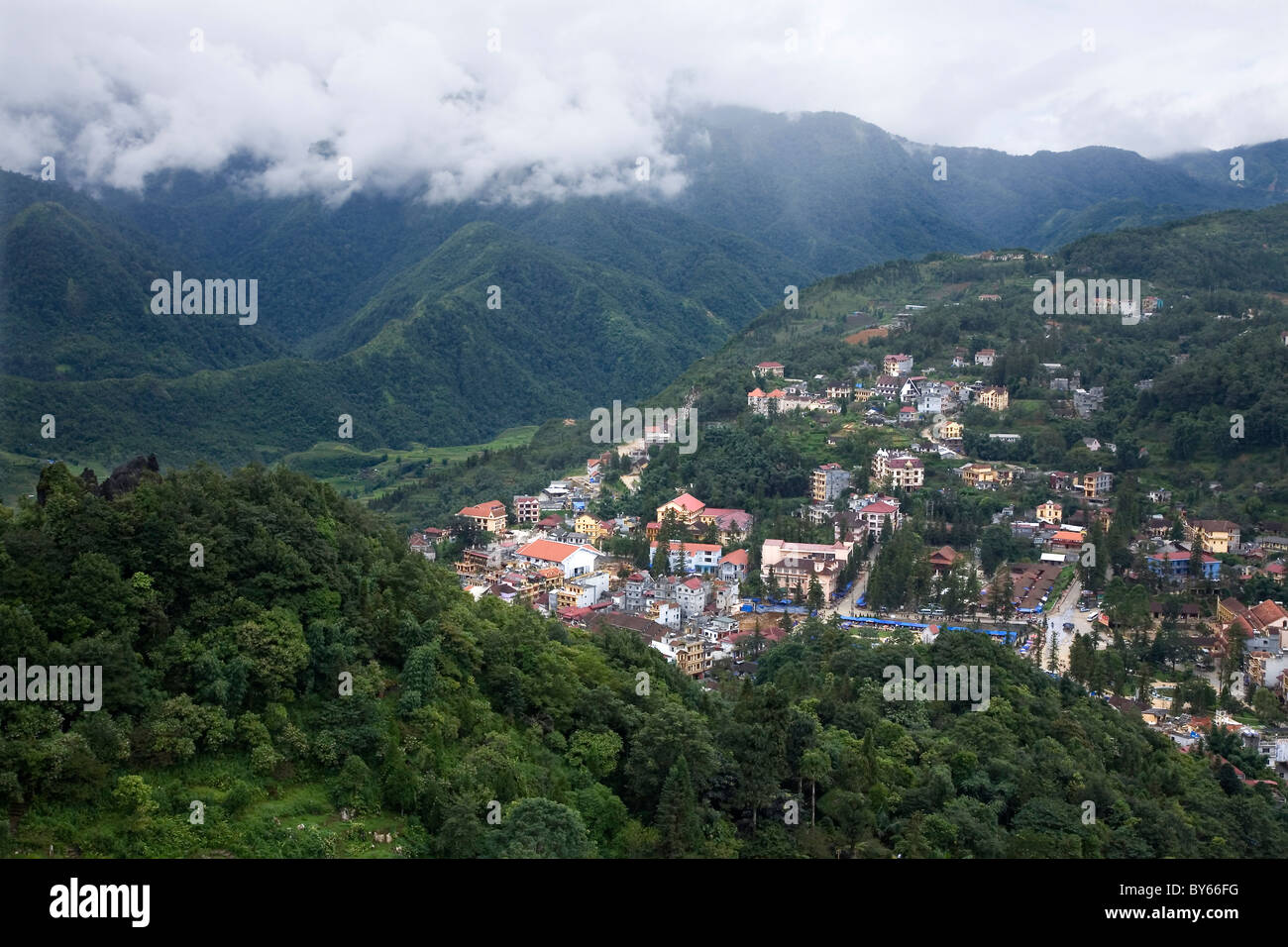 Aerial view. Sapa, Lao Cai province, Vietnam. - Stock Image