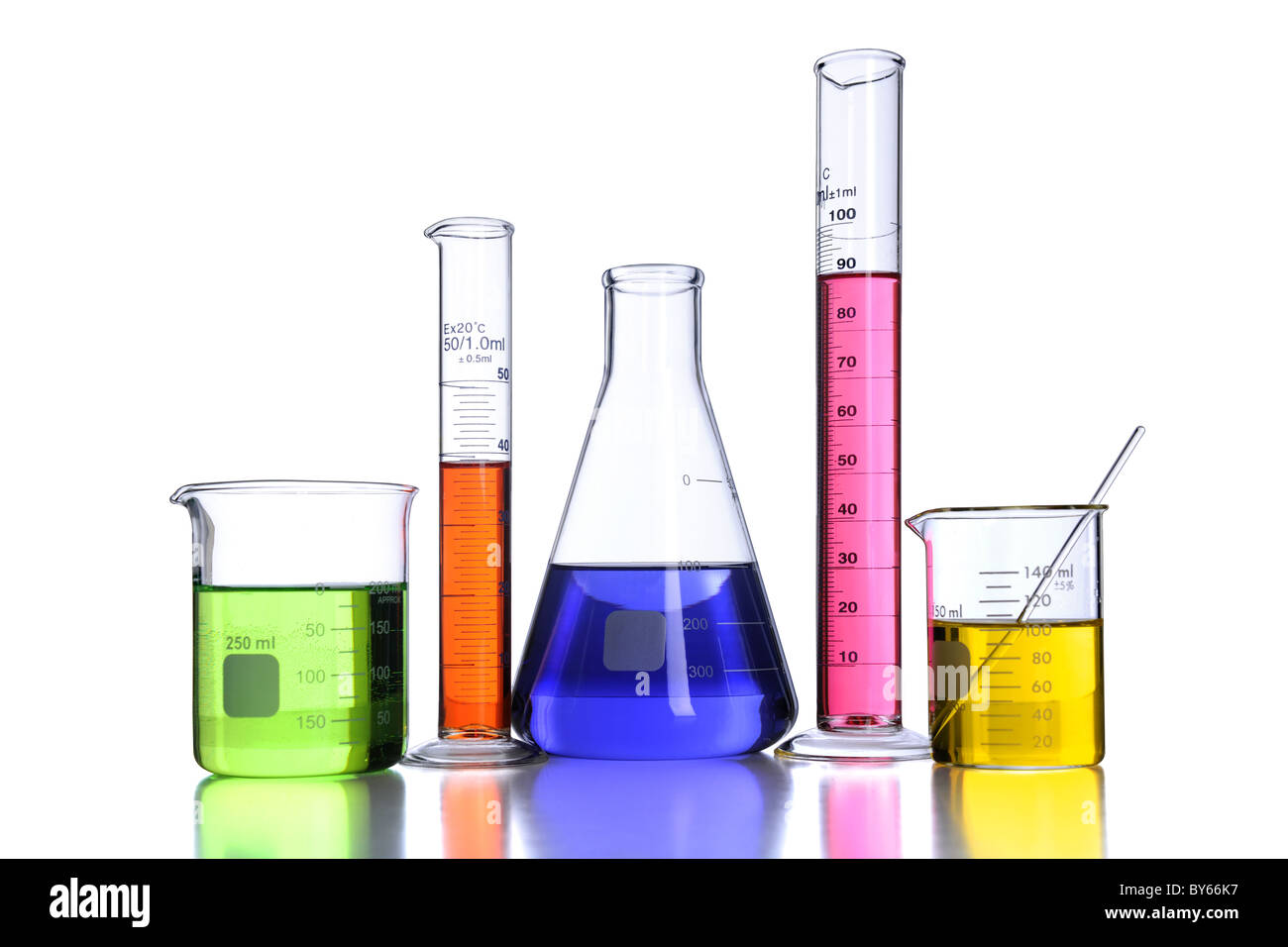 Beakers and laboratory glassware isolated over white background with reflections - With clipping path - Stock Image