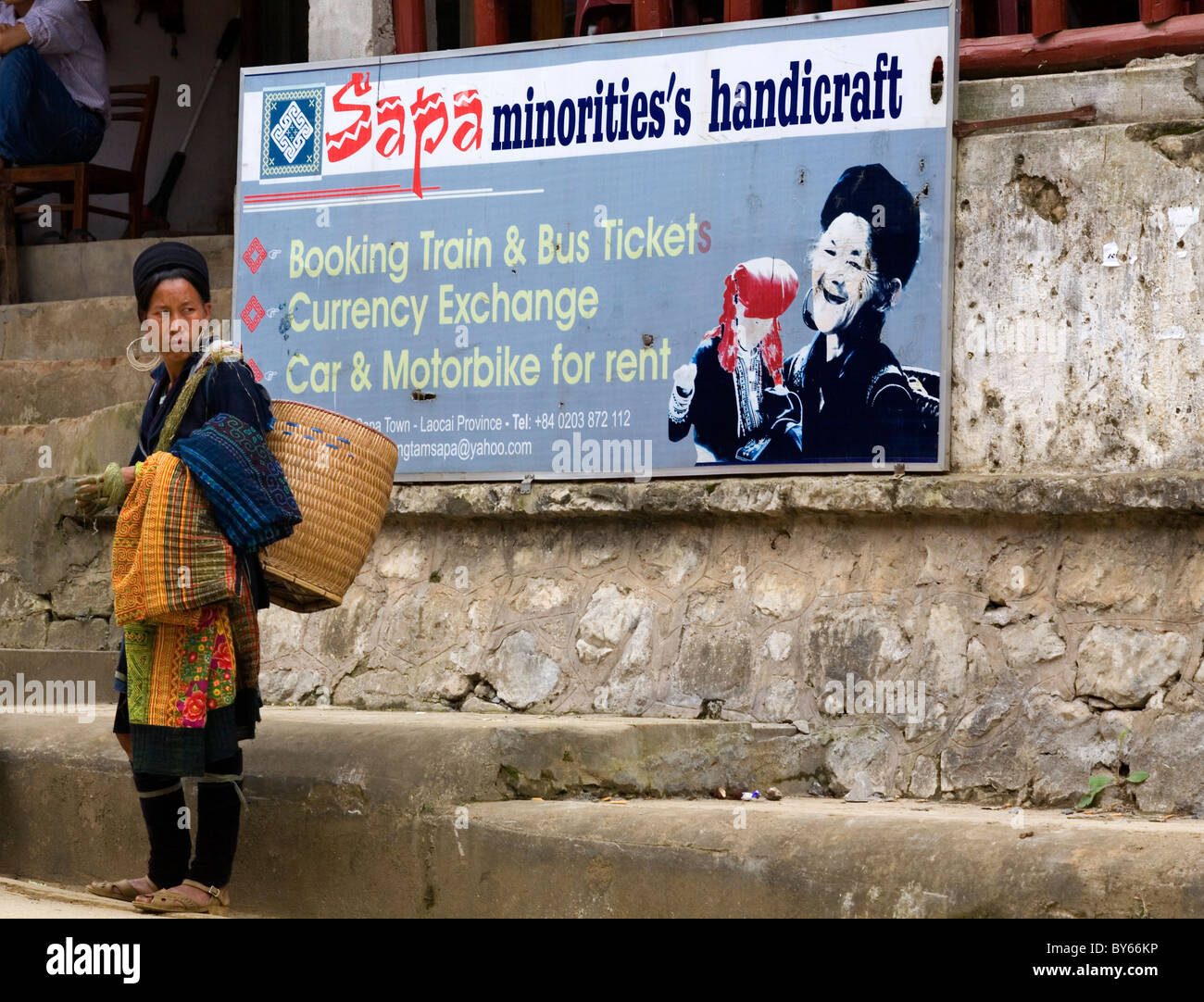 black hmong ethnic woman. - Stock Image