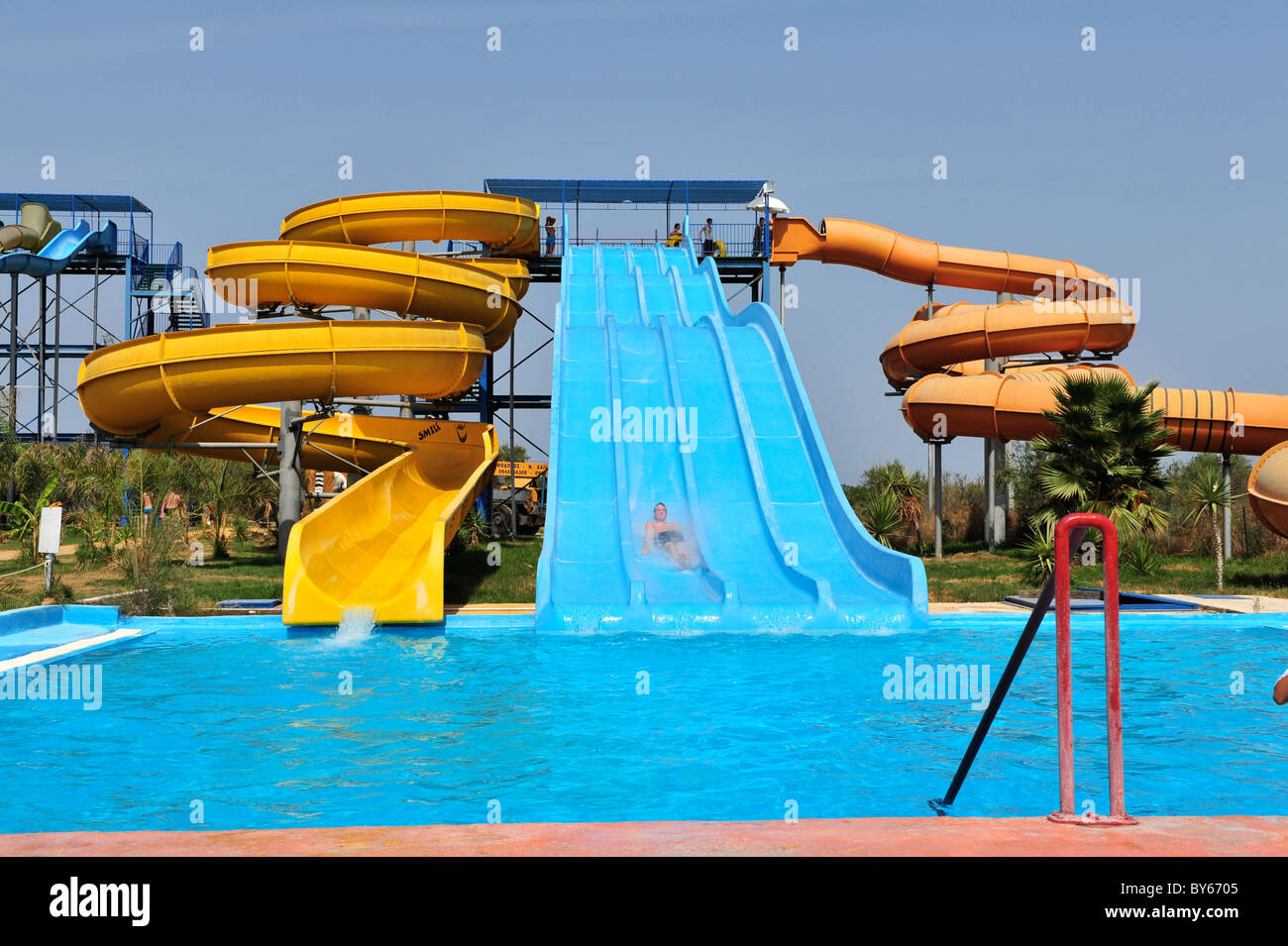 Water park slides and flumes Stock Photo