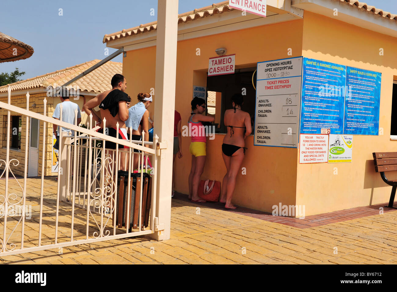 People queueing to enter a water park Stock Photo