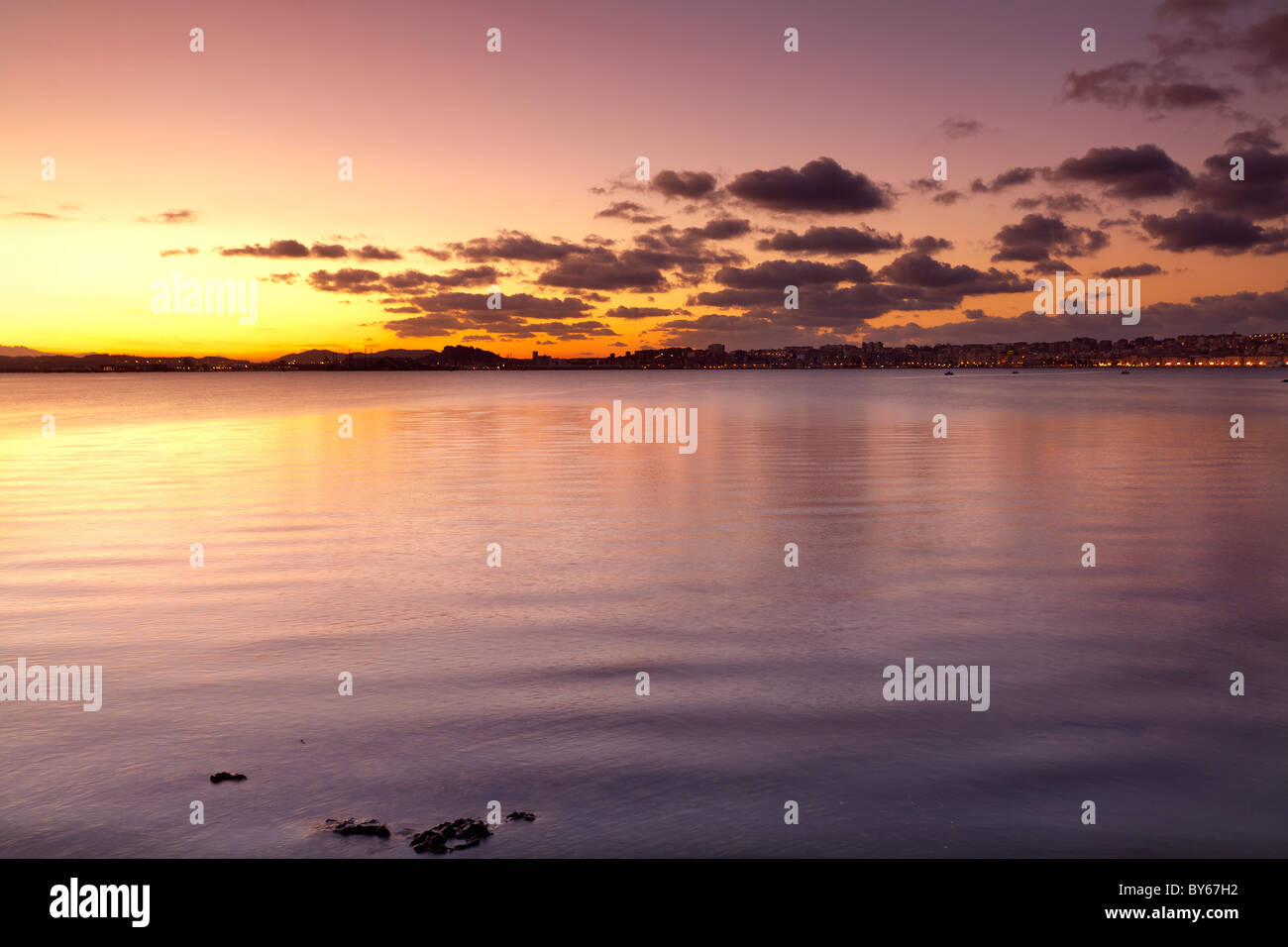 Twilight in Santander bay - Stock Image