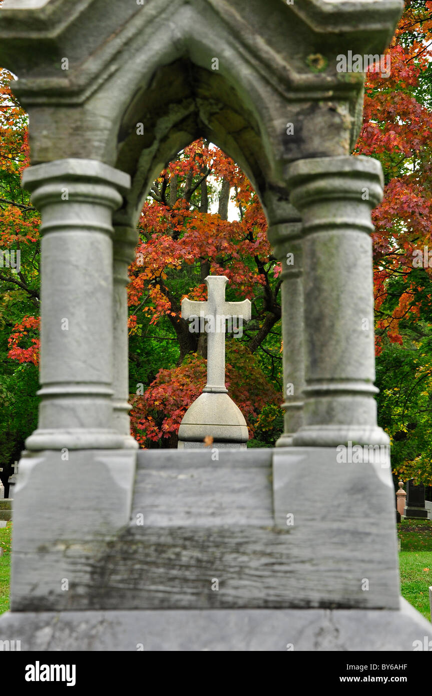 Old Tombstone, Albany Rural Cemetery. - Stock Image