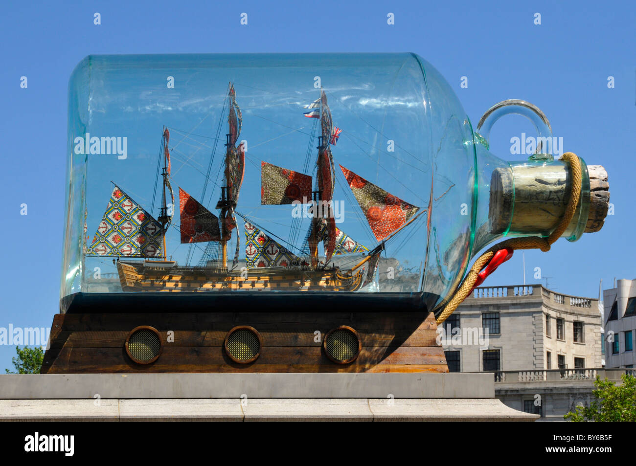 Close up of Nelsons flagship ship in a bottle by Yinka Shonibare on the fourth plinth in Trafalgar Square London - Stock Image