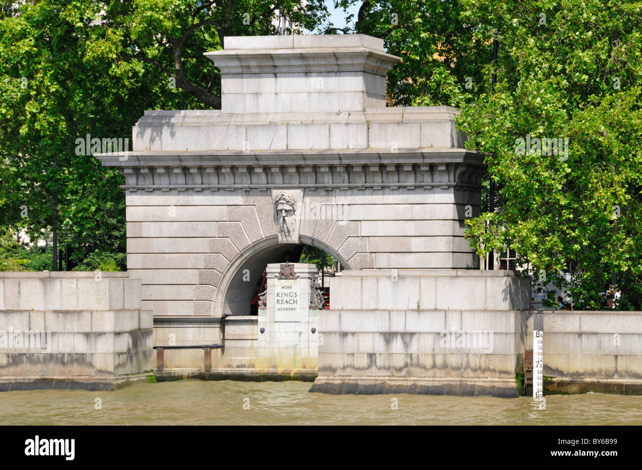 Old Kings Reach Watergate to commemorate Silver Jubilee of King George V on London embankment River Thames note - Stock Image