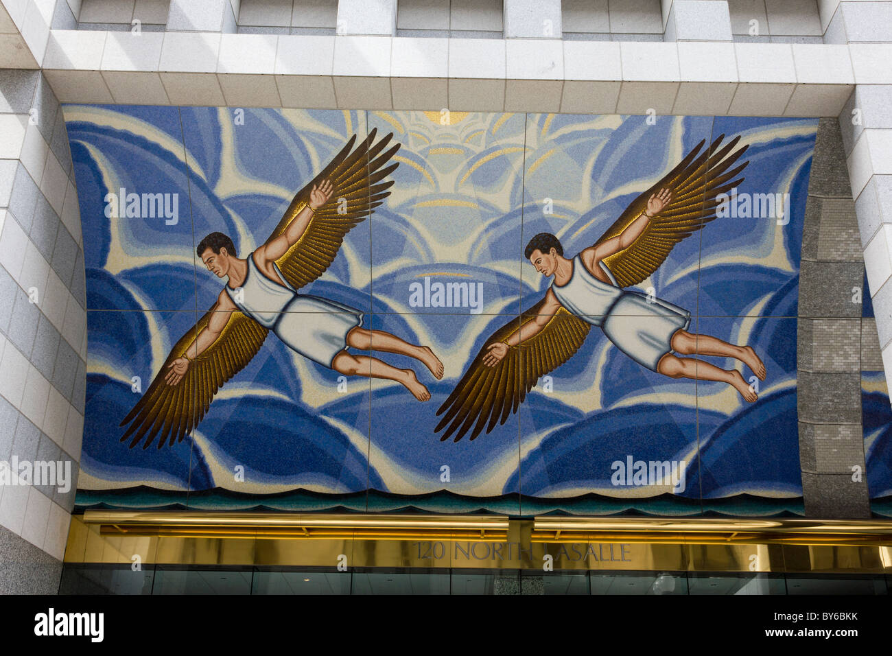mosaic of Daedalus by Roger Brown, 120 North La Salle Street, Chicago, Illinois, USA - Stock Image