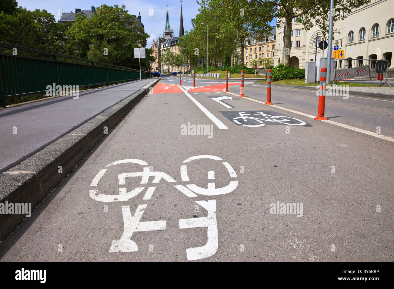 Cycle lane with painted signs marked on the road in the city of Luxembourg, Europe. - Stock Image
