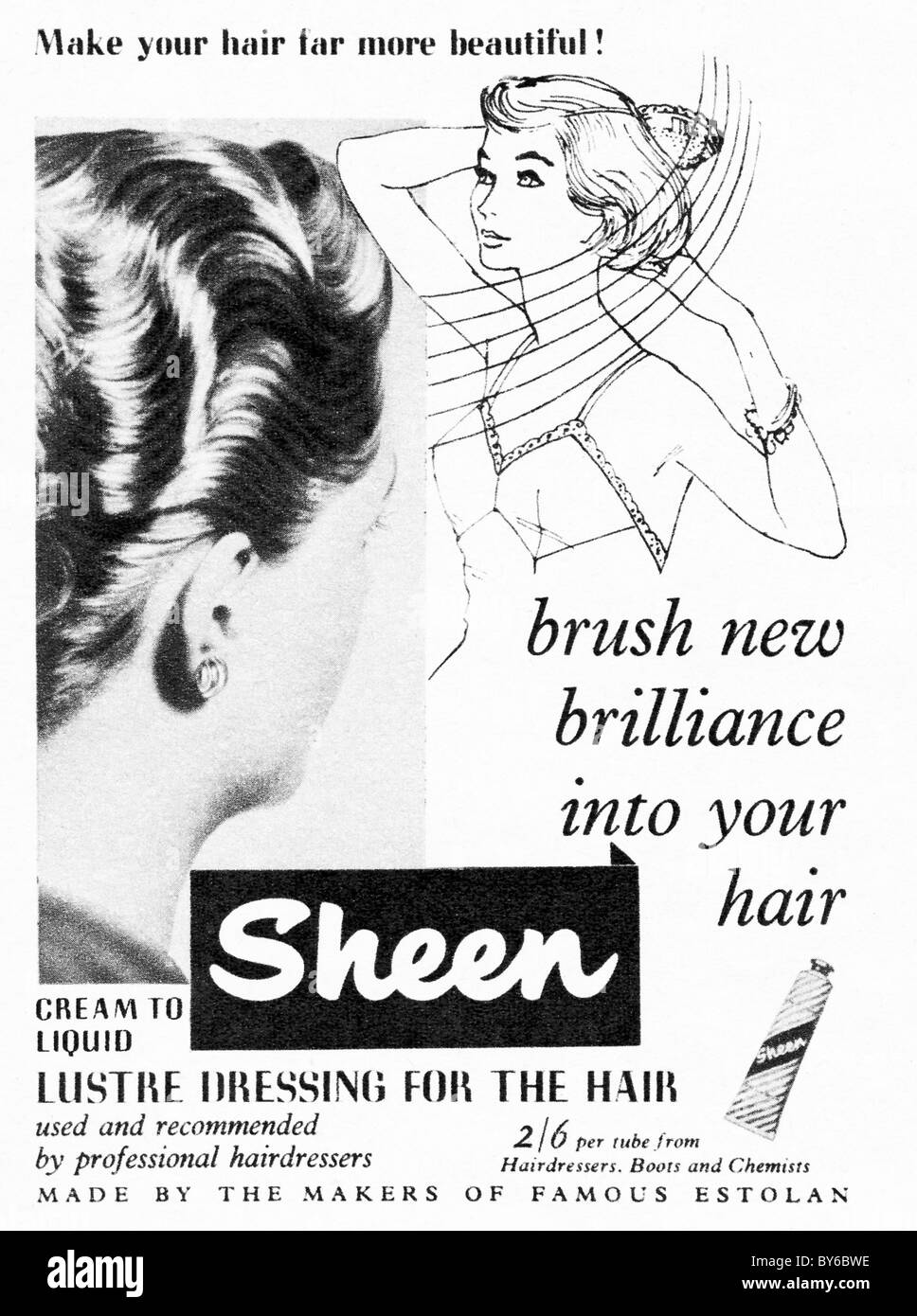 1950s advert in ladies fashion magazine for Sheen lustre dressing for the hair - Stock Image