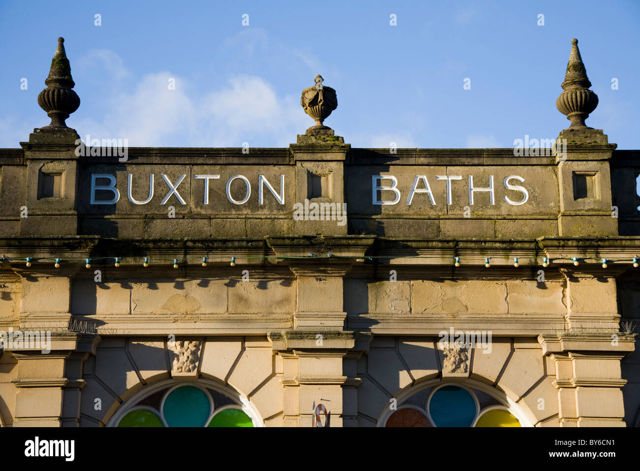 Parapet of the historic Buxton Baths / spa bath / well / wells/ healing water / spring water pool / pools. Derbyshire. Stock Photo