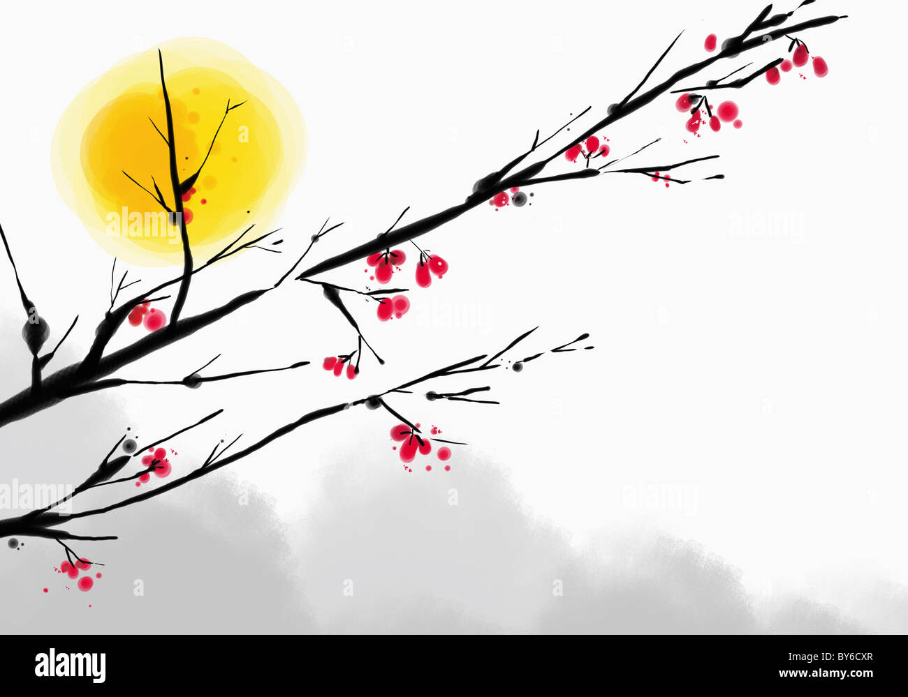 new year's greeting illustration in oriental mood - Stock Image