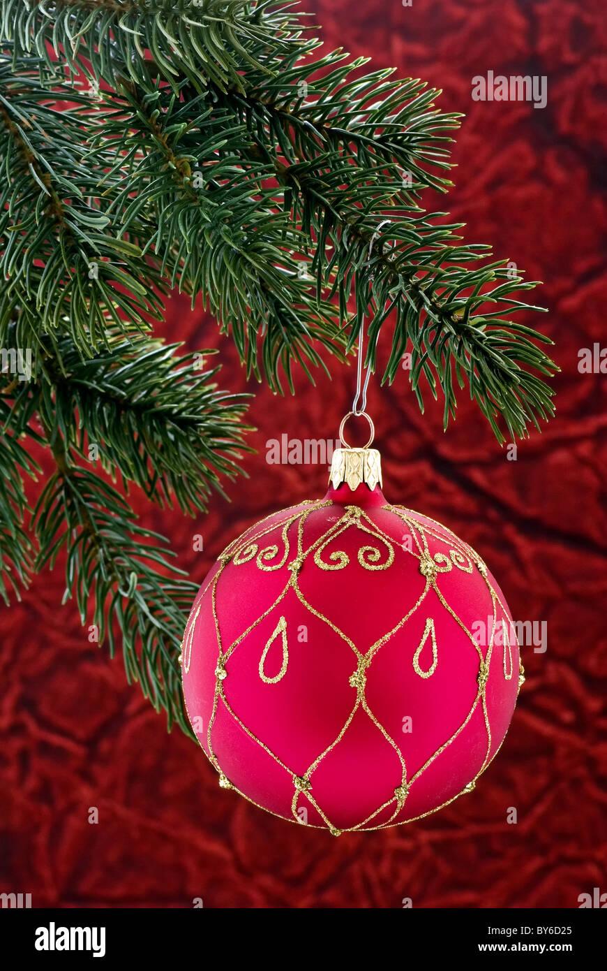 Christmas bauble as closeup on christmas tree - Stock Image