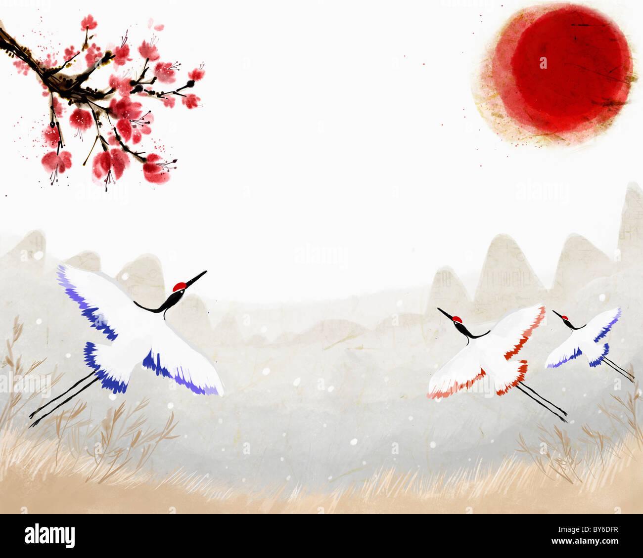 2013 lunar year illustration oriental mood - Stock Image
