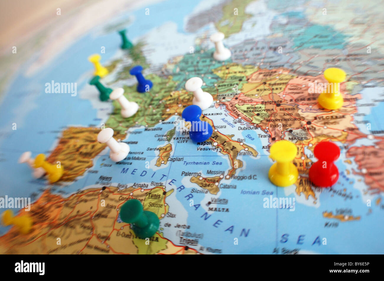 pins on map for travel - Stock Image