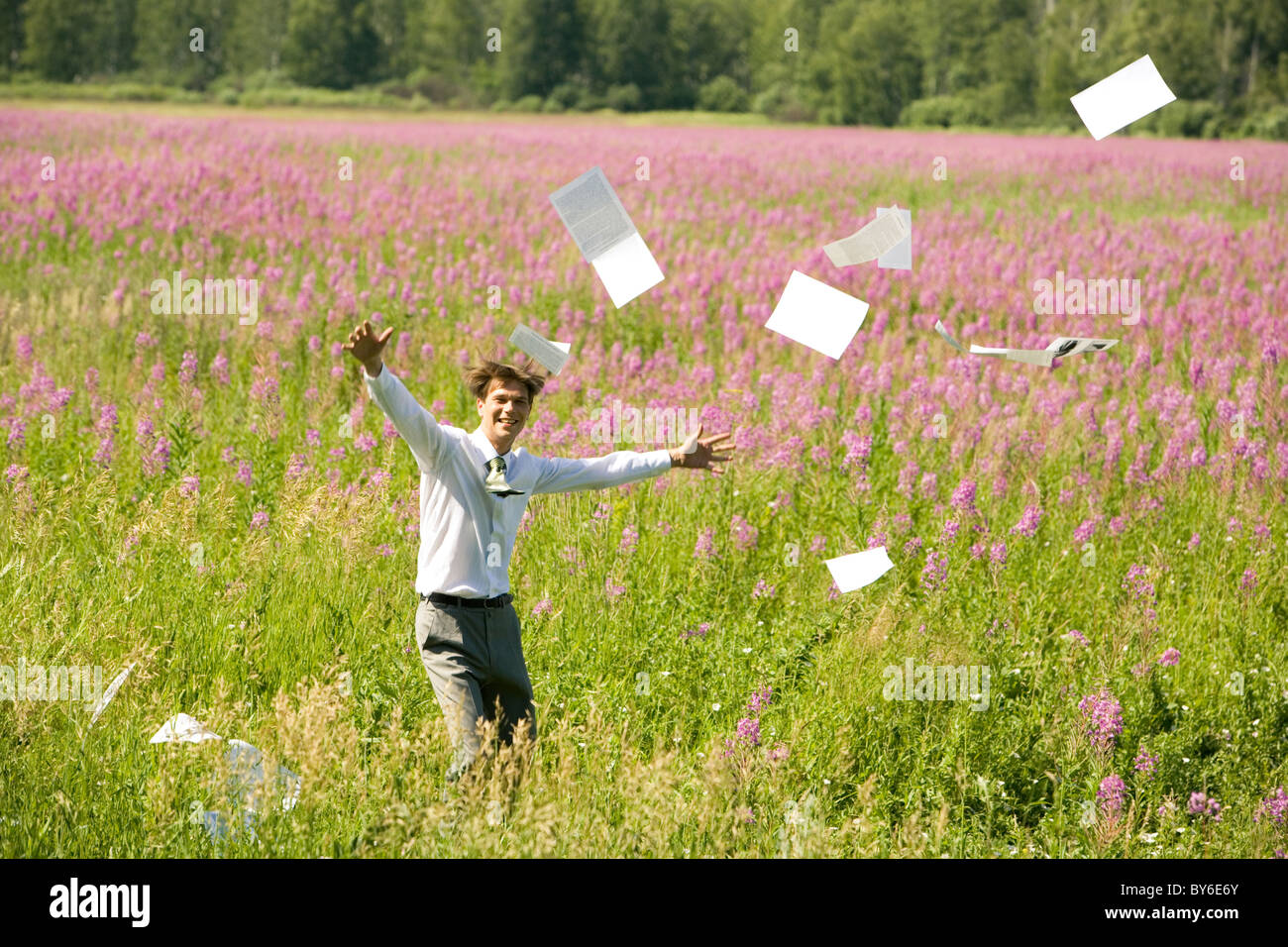 Image of joyful businessman on green meadow in summer with documents being flown by the wind - Stock Image